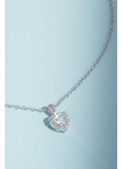Crystal Heart Pendant Necklace with Pave Halo - This delicate and dainty necklace features a charming