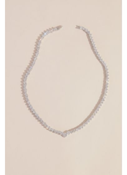 Cubic Zirconia Solitaire Choker Necklace - Simply beautiful and undeniably elegant, this necklace is