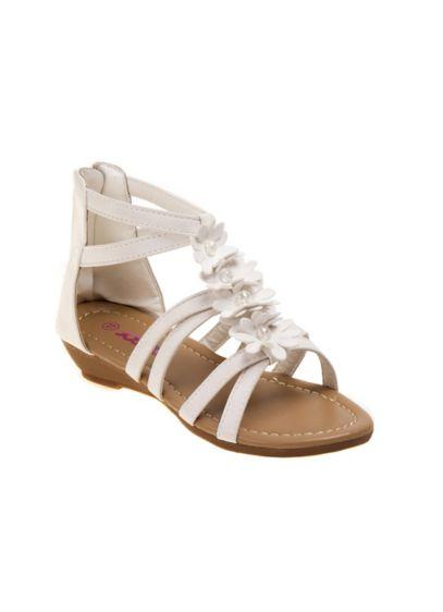 Josmo White (Girls Strappy Floral Gladiator Sandals)