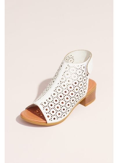 Josmo White (Girls Flower Cutout Open-Toe Slingback Booties)