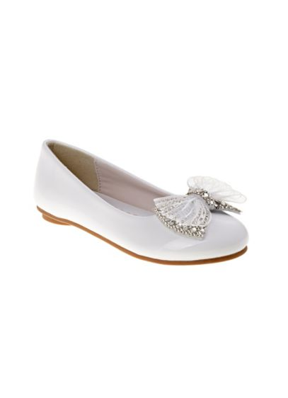 Laura Ashley White (Girls Ballerina Flats with Rhinestone Ribbon Bow)