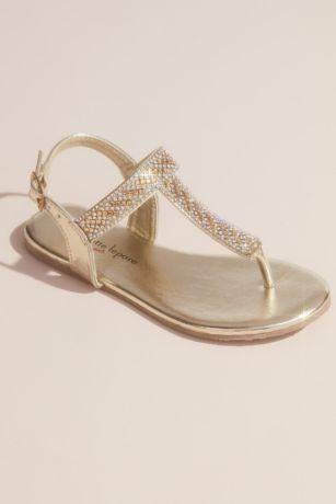 Nanette Lepore Grey;Yellow Flowergirl Shoes (Girls Rhinestone Metallic Thong Sandals)