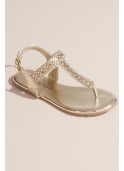 Nanette Lepore Grey (Girls Rhinestone Metallic Thong Sandals)