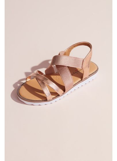 Josmo Pink (Girls Metallic Crisscross Slingback Sandals)