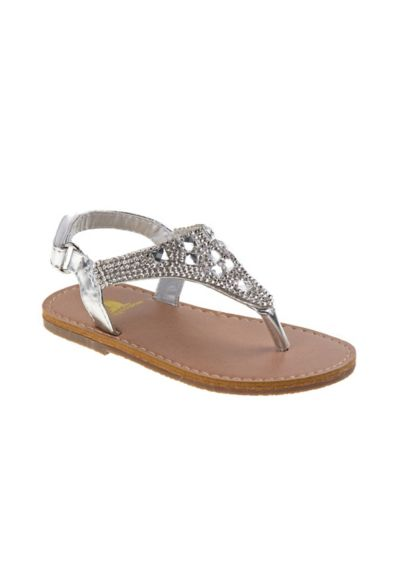 Rugged Bear Grey (Toddlers Metallic Thong Sandals with Crystals)