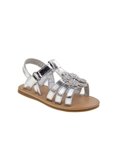 Rugged Bear Grey (Toddlers Metallic Sandals with Crystals)
