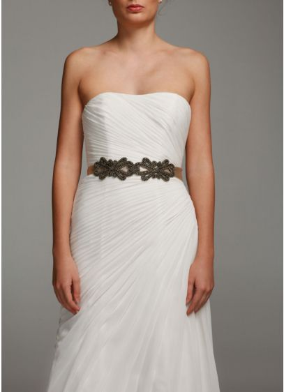 Bridal Satin Sash with Scroll Design - Wedding Accessories