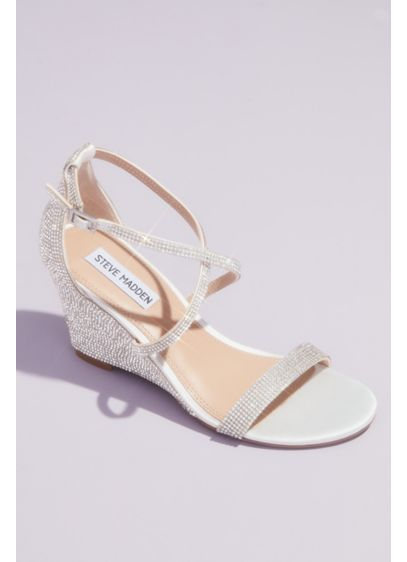 Steve Madden x DB Ivory (Crystal Crisscross Strap Wedge Sandals)