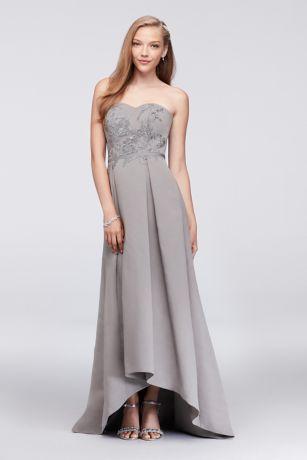 High Low Ballgown Strapless Dress - Oleg Cassini