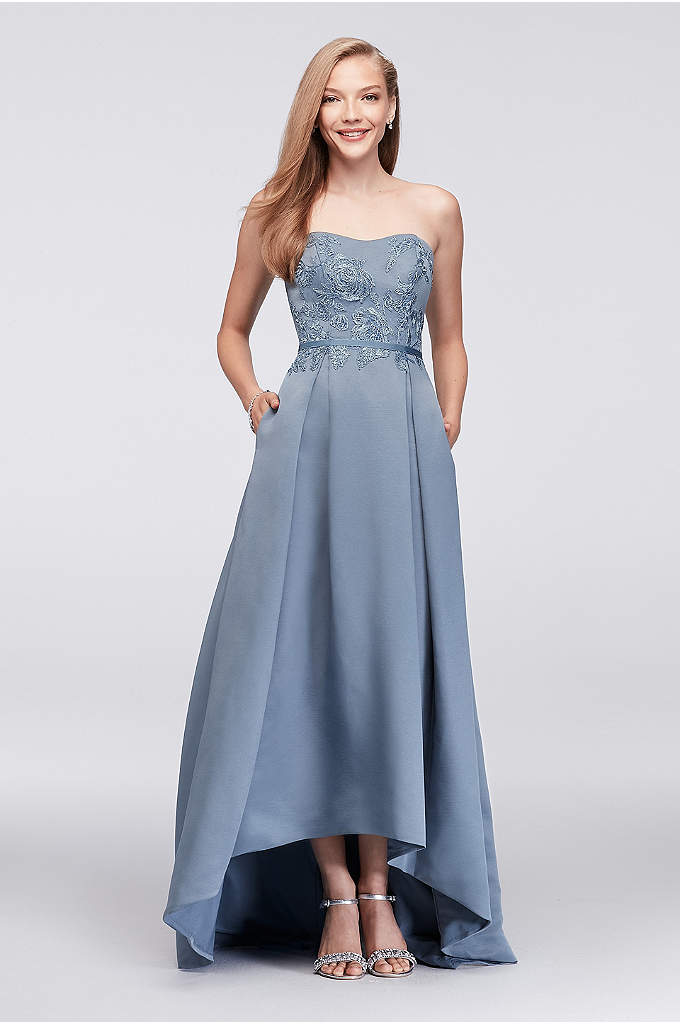 Appliqued Faille High-Low Bridesmaid Dress - Crafted of textured faille and appliqued with subtly