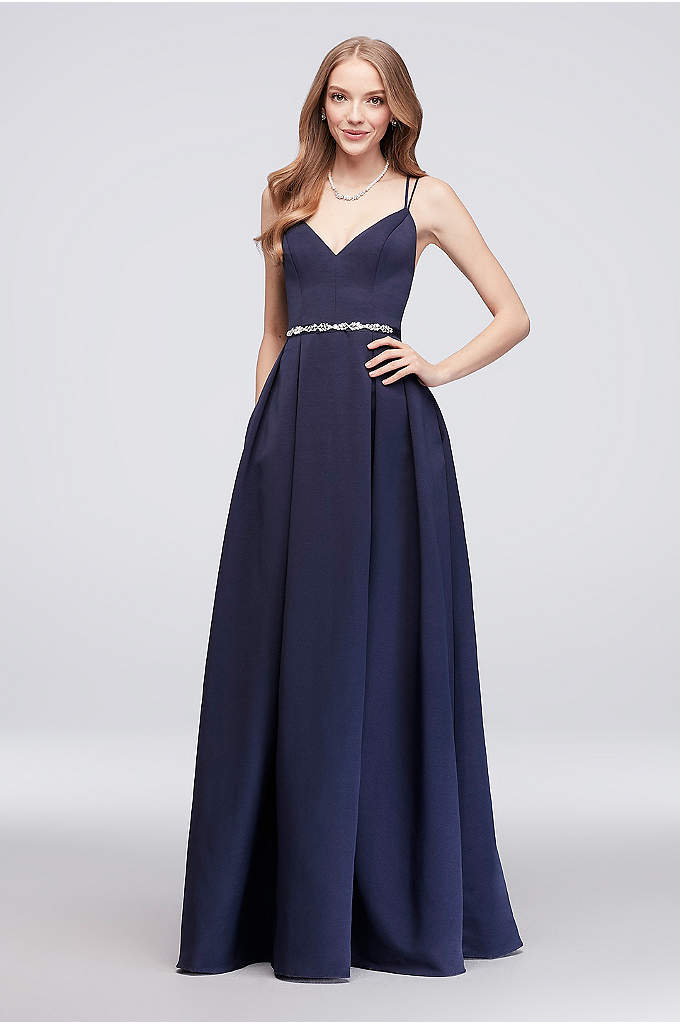 Faille Bridesmaid Ball Gown with Jewel Sash - Double spaghetti straps and a V-neckline top this