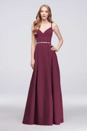 Long A-Line Spaghetti Strap Dress - Oleg Cassini