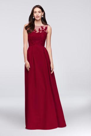 Appliqued Illusion Faille Bridesmaid Dress Davids Bridal