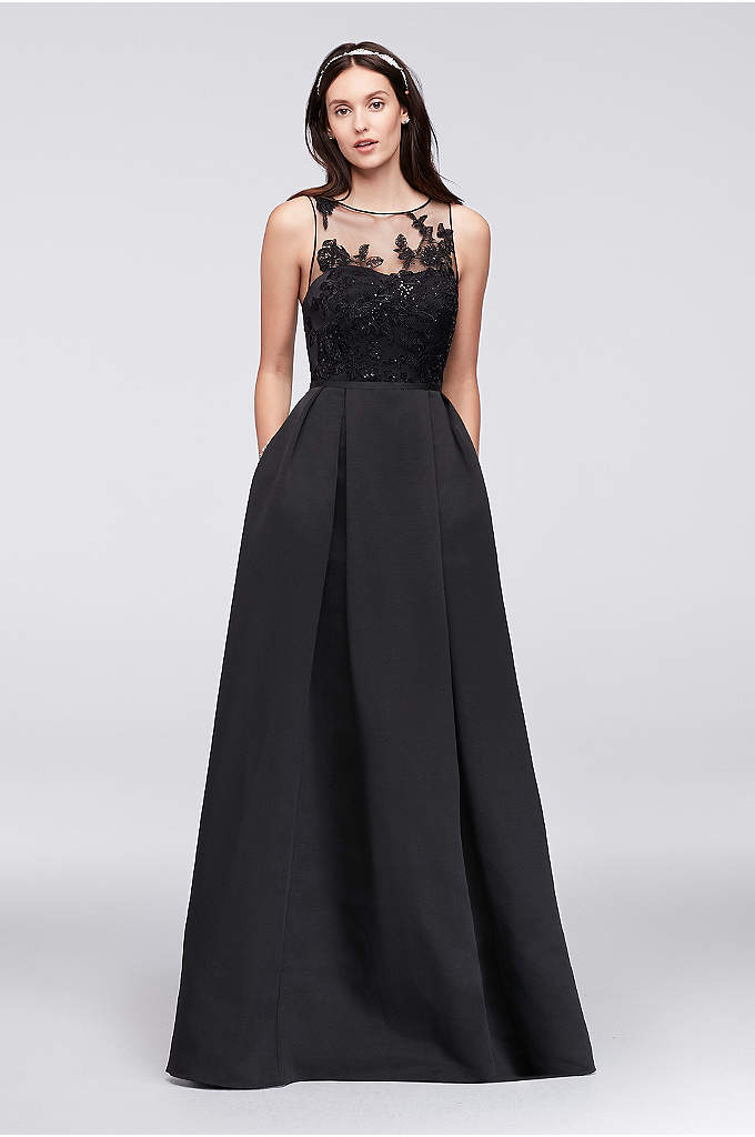 Appliqued Illusion Faille Bridesmaid Dress - An elegant illusion bodice is topped with floral