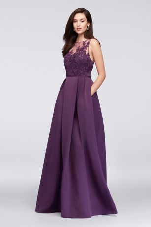 Oleg Cini Liqued Illusion Faille Bridesmaid Dress
