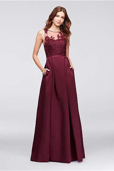 Appliqued Illusion Faille Bridesmaid Dress