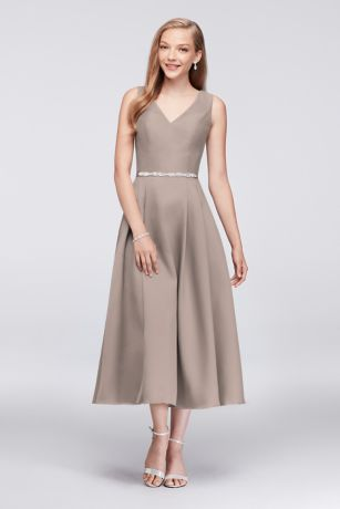 Structured Oleg Cassini Tea Length Bridesmaid Dress