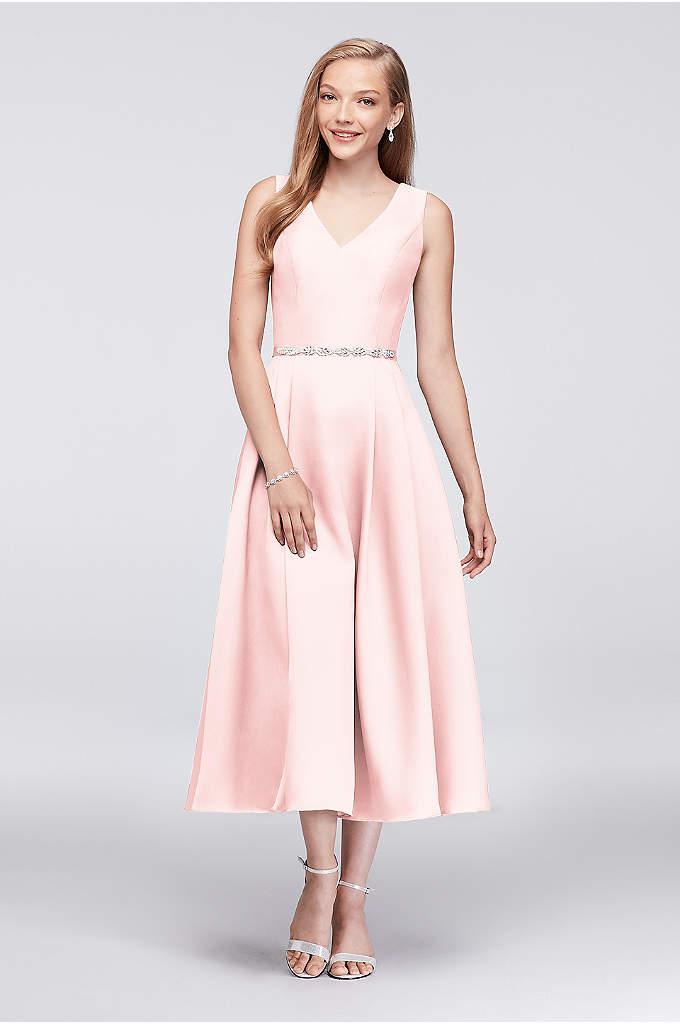 V-Neck Mikado Tea-Length Bridesmaid Dress