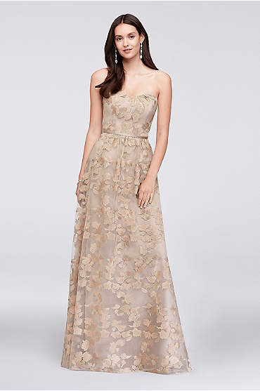 Embroidered Long Strapless Bridesmaid Dress