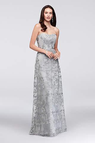 Vestido Bordado Strapless Para Dama de Honor