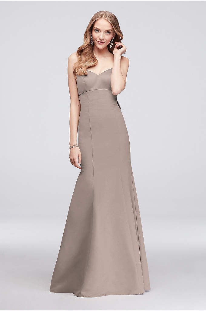 Strapless Faille Mermaid Bridesmaid Dress With Bow Adorned An Oversized Crystal Centered