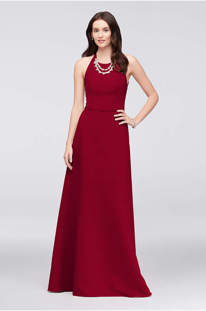 Crystal Necklace Faille A-Line Bridesmaid Dress - This figure-flattering faille A-line bridesmaid dress comes with