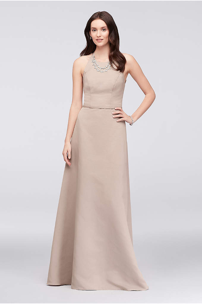 Crystal Necklace Faille A-Line Bridesmaid Dress