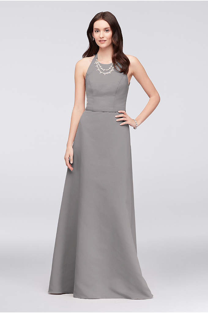 Crystal Necklace Faille A Line Bridesmaid Dress This Figure Flattering