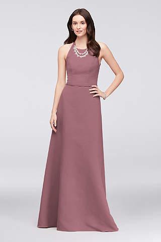 Vestido en Línea A Para Dama de Honor de Faille Con Collar de Cristal