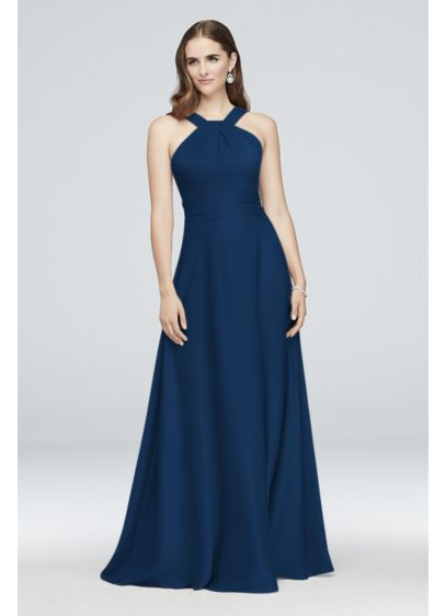 High-Neck Satin Crepe Bridesmaid Dress - With a lustrous finish and a super-soft and