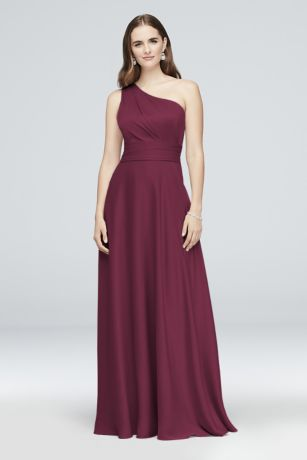 Long A-Line One Shoulder Dress - Oleg Cassini