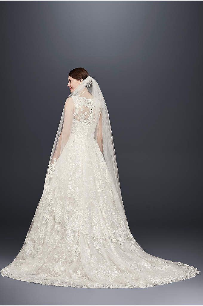Embellished Lace Walking Veil - Finish your wedding day look with this opulently