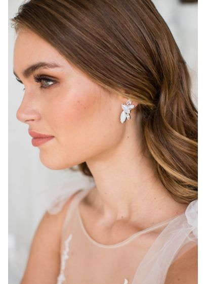 Brides and Hairpins Yellow (Opal and Swarovski Crystal Cluster Post Earrings)