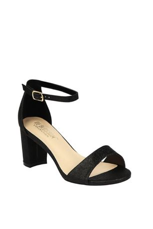 Blossom Beige;Black;Grey Heeled Sandals (Glitter Ankle Strap Metallic Block Heel Sandals)