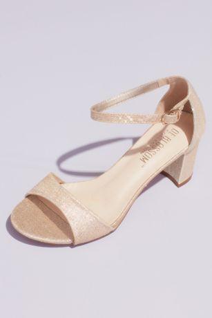 Blossom Beige;Black;Grey Heeled Sandals (Glitter Ankle Strap Metallic Block Heel Sandals)