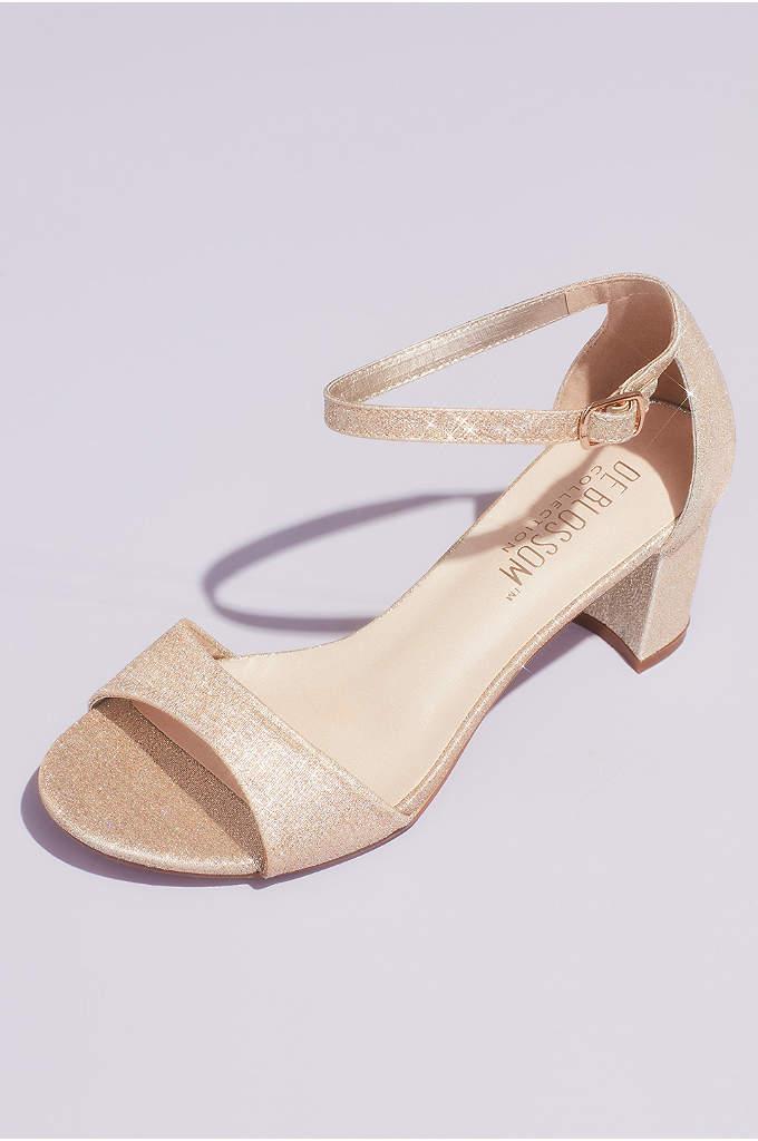 Glitter Ankle Strap Metallic Block Heel Sandals