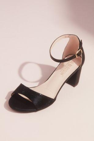 Blossom Black;Grey;Pink Heeled Sandals (Metallic Block Heel Sandals with Tonal Crystals)