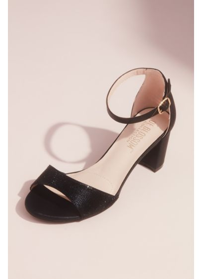 Blossom Grey (Metallic Block Heel Sandals with Tonal Crystals)