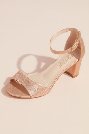 Blossom Black;Grey;Pink Heeled Sandals (Metallic Block Heel Sandals with Tonal Crystals)