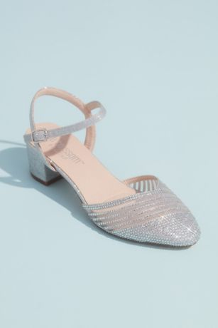 "Blossom Blue;Grey;Pink Heeled Sandals (Glitter Round D""Orsay Heels with Illusion Striping)"