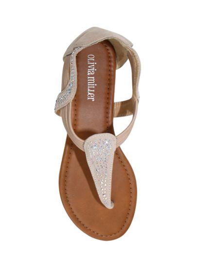 Olivia Miller Beige (Crystal Embellished Slip On Sandal)