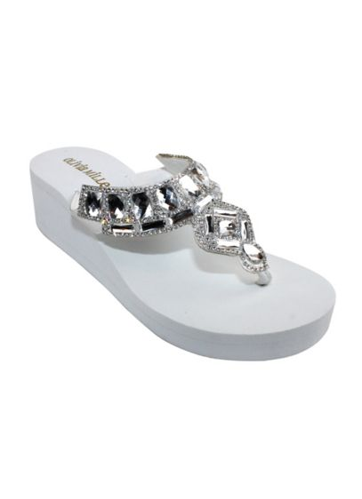 Olivia Miller White (Jeweled Platform Flip-Flop)