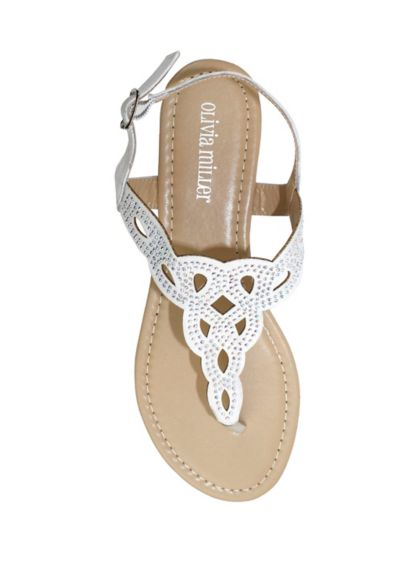 Olivia Miller White (Crystal Embellished Knot Patterned Sandals)