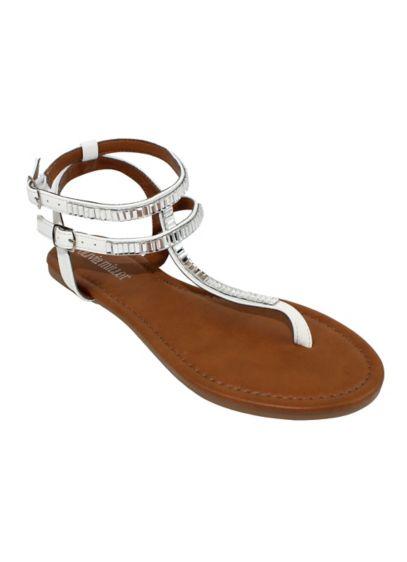 Olivia Miller White (Baguette Crystal Embellished Sandal)