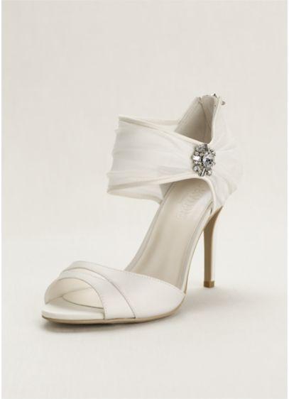 David's Bridal Ivory (Chiffon Ruched Sandal with Crystal Embellishment)