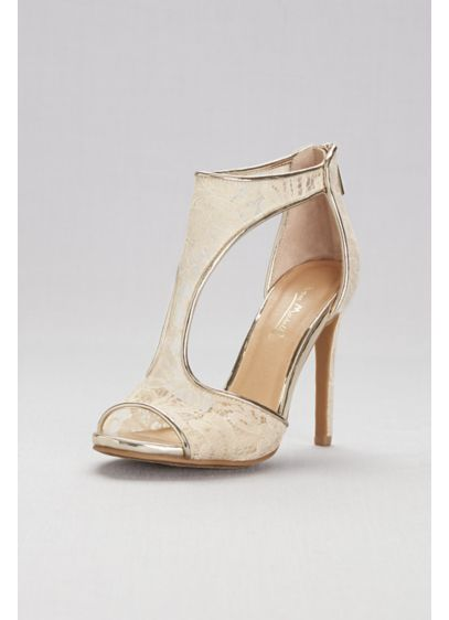 Anne Michelle Beige (Sheer Lace Cutout Shooties with Metallic Trim)