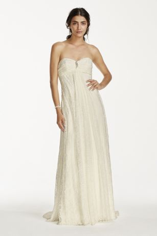 Strapless Empire Waist Wedding Dress Rouching