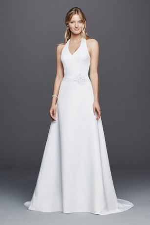 Halter V-neck Wedding Dress with Flower Detail | David\'s Bridal