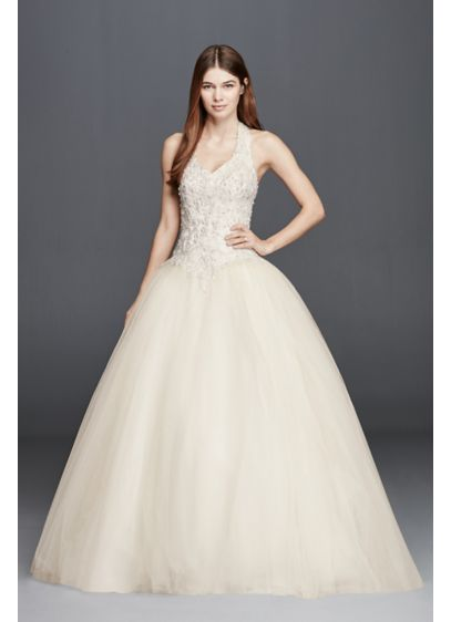 Embellished Halter Wedding Dress With Basque Waist David