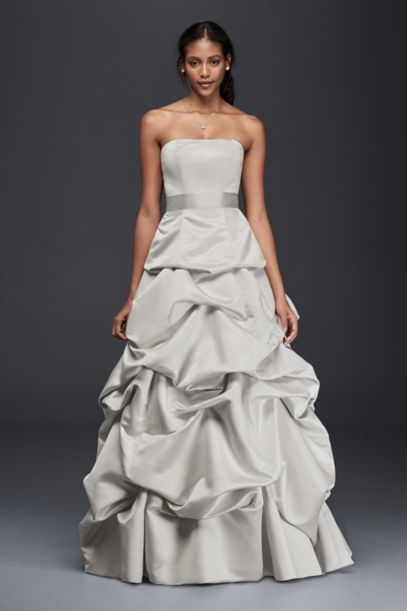 Strapless Drop Waist Ball Gown With Skirt Pickups David
